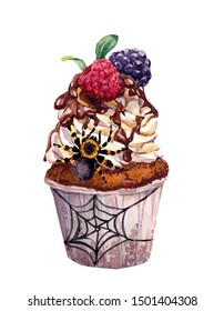 Unusual cupcake with spiders and spider web. Odd watercolor food for Halloween party design