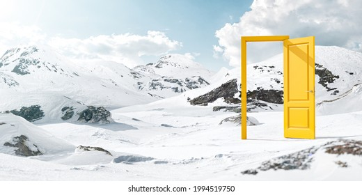 Unusual Design Concept. Surreal 3d Illustration of a Opened Yellow Door in the Middle of Snowy Mountains. Commercial Advertizing Concept.