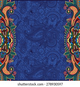 unusual floral ornamental template with place for your text, oriental vintage pattern for invitation party card, brochure design, postcard, packing, book cover, ultramarine color, raster version