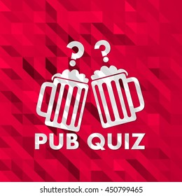 unusual friendly pub quiz illustration in low poly on crazy prink triangle background