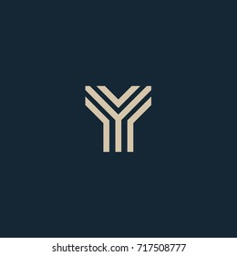 Unusual geometric letter Y. Architecture logo. Isolated monogram