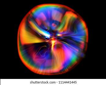 Unusual life form. Fluorescent deep-sea creature. Nature of deep ocean. Underwater lighting. Abstract dynamic shape on black background. Gentle distortions. Stylish fluids.