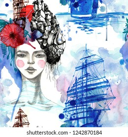 Unusual poetic portrait of a young girl. Hand-drawn raster fairy tale seamless pattern with a dreams in the woman's head and the ship.