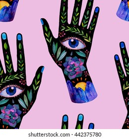 Unusual seamless pattern with ornate hands. Hand drawn raster boho texture. trendy fashion illustration.