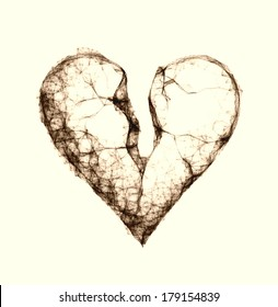 Unusual sepia illustration Grunge Broken Heart Design with Texture
