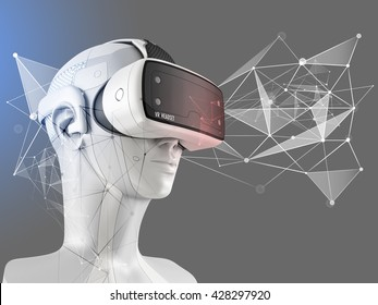 Unusual virtual reality headset on a white robot. 3D illustration.
