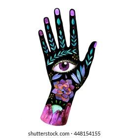 Unusual watercolor boho hand. Symbolic raster illustration for your design.