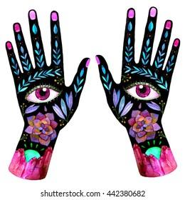 Unusual watercolor boho hands. Symbolic raster illustration for your design.