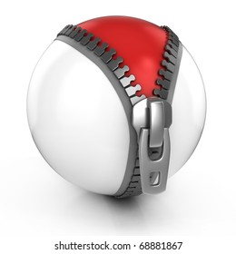 unzipped white ball revealing red ball beneath - 3d illustration