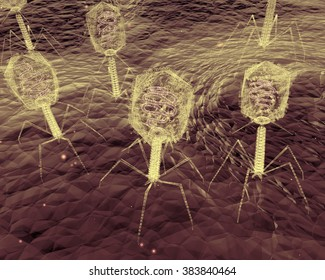 An up-close electron microscope style illustration of Bacteriophage Viruses infecting bacteria.