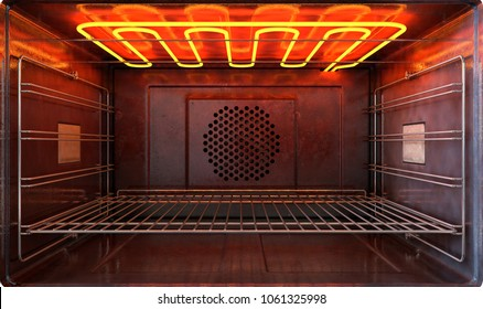 An upclose view through the front of the inside of an empty hot operational household oven with a glowing element and metal rack - 3D render