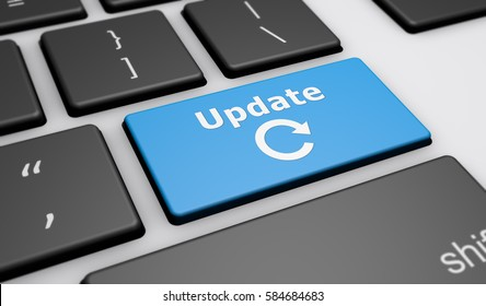 Update sign and icon on a computer keyboard button 3D illustration.