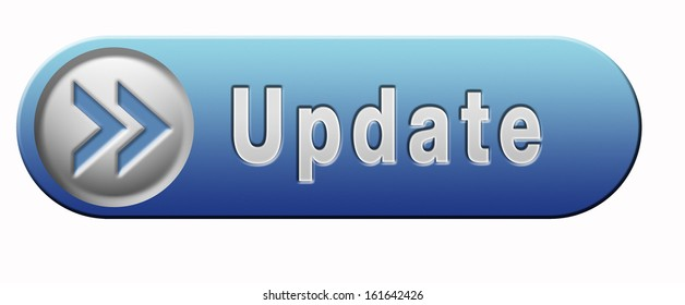 Update software now and here to the latest newest version or new edition, blue button banner or icon