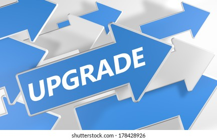 Upgrade 3d render concept with blue and white arrows flying upwards over a white background.