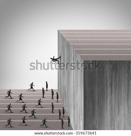 Upgrade business skill concept and career growth symbol as a businessman running on a vertical wall upward to achieve a winning goal leaving less skilled employees behind.