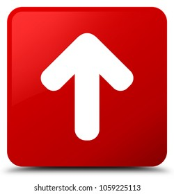 Upload arrow icon isolated on red square button abstract illustration
