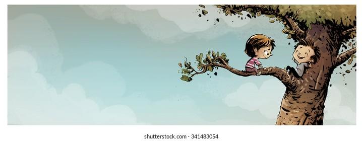 uploaded children in a tree
