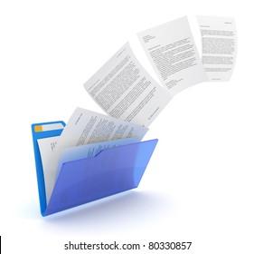 Uploading documents from blue folder. 3d illustration.