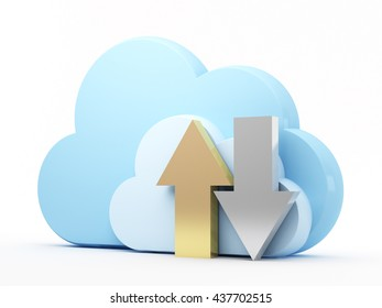 Uploading and downloading arrows with blue cloud on white background. 3d rendering.