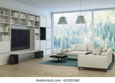 Upmarket modern living room or den interior for entertainment with a large flat screen television, bookcases with books and a large comfortable sofa in front of floor to ceiling windows. 3d rendering