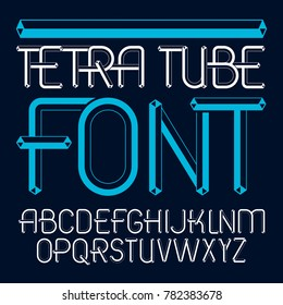 upper case modern alphabet letters set. Artistic font, typescript for use in logo creation. Made using cube tetra tube design.