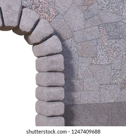 Upper right part of a cyclopean stone gate with granite tiled wall and white isolated opening. 3d render.