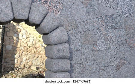 Upper right part of a cyclopean stone gate with granite tiled wall, debris viewed through the opening. 3d render.
