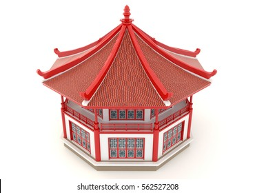 Upper view of 3D red Chinese pavilion temple building in white background