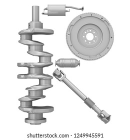 Uppercase letter R from car parts. The letter of the alphabet -R- composed of a crankshaft, a flywheel, a cardan drive shaft and elements of the vehicle engine exhaust system. Isolated.3D Illustration