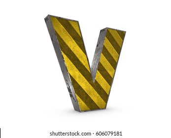 Uppercase yellow Letter V - heavy iron extruded letter industrial style on white background 3D render