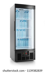 Upright refrigerated cabinet with glass door. Water bottles on shelves. 3d render