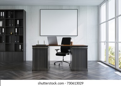 Upscale CEO office interior with white walls, a wooden floor, loft windows and a bookcase next to a massive table. A horizontal poster. 3d rendering mock up