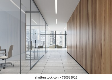 Upscale office corridor with glass and wooden walls, a wooden floor and a loft window. Meeting room interior corner in the foreground. 3d rendering mock up