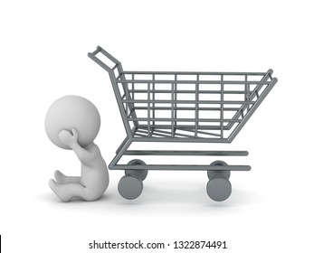 Upset 3D character sitting down next to an empty shopping cart. Isolated on white background.