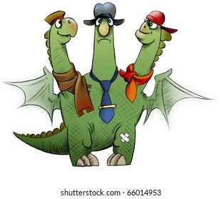 An upset fat three-headed dragon