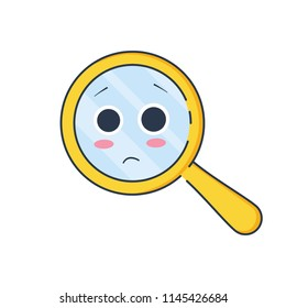 Upset magnifying glass, cute not found symbol and unsuccessful search.Zoom for 404 icon, no suitable results, oops page failure concept. Flat outline illustration of loupe or magnifier on white