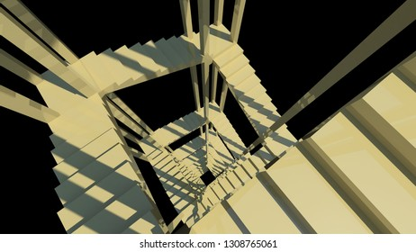 Upside view of a spiral staircase. Deep down, gloomy, gloomy background Wallpaper 3D rendering