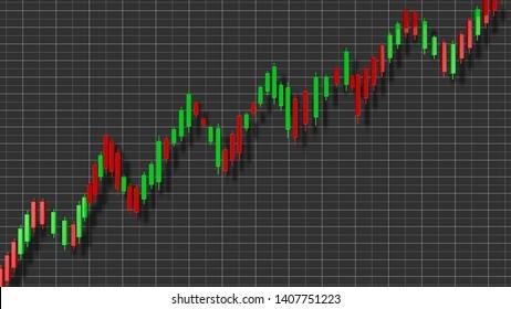 Uptrend Stock Chart 3D Illustration