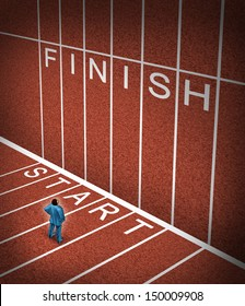 Upward climb business idea to overcome adversity as a businessman at the start line of a track and field path facing an obstacle to achieving a planned strategy for success and to go to the finish.