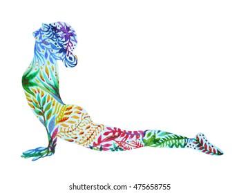 Upward Facing Dog Yoga Pose, Urdhva Mukha Svanasana, flower floral pattern watercolor painting, chakra color power illustration design