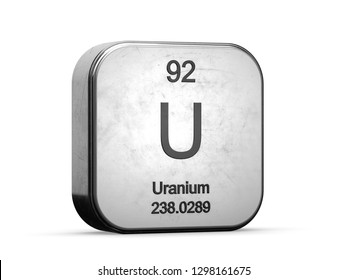 Uranium radioactive element 92 from the periodic table series. Metallic icon set 3D rendered on white background