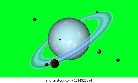 Uranus planet with satellites 3D rendering on green screen. Blue Uranus planet with rings, rotating.