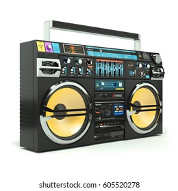 Urban boombox tape recorder 80s isolated on white background 3d