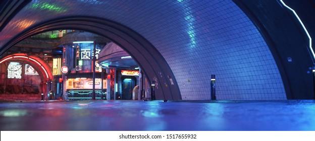 Urbaner Stadtretro futuristischer Hintergrund mit Neonakzenten. Neo-noir Stil 3d Rendering.