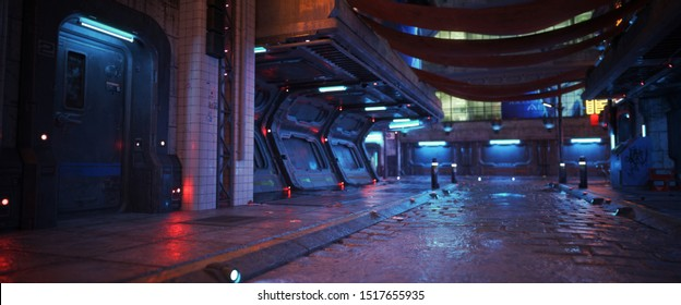 Urban city retro futuristic back drop background with neon accents. Neo-noir style 3d rendering.