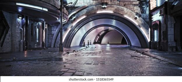 Urban city retro futuristic back drop tunnel background with neon accents. Neo-noir style 3d rendering.
