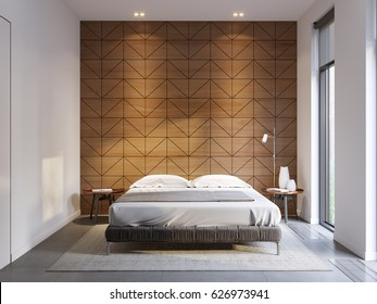 Urban Contemporary Modern Minimalism High-tech Bedroom Interior Design With Modern Bed and Wooden Paneling on Wall. 3d rendering