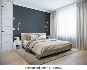 Urban Contemporary Modern Scandinavian Bedroom Interior Design. Mock up Gray and White wall. 3d rendering.
