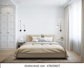 Urban Contemporary Modern Scandinavian Bedroom Interior Design. Mock up Gray and White wall. 3d rendering