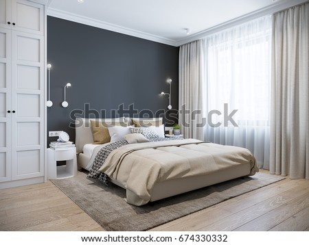 urban contemporary modern scandinavian bedroom interiorのイラスト